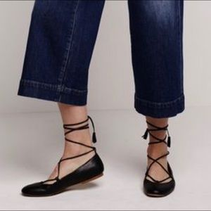 Madewell Inga lace up leather ballet flats Sz 7.5